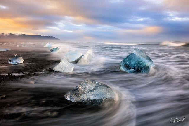 limited edition, fine art, black sand beach, Iceland, Diamonds, Iceland,