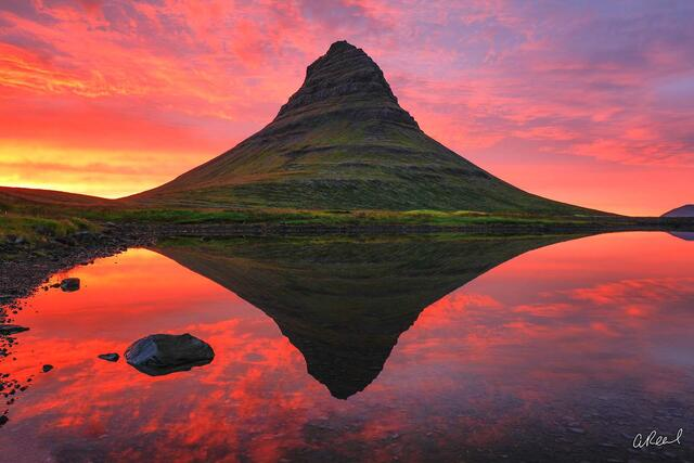 Kirkjufell, Iceland, Sunset, Red, Orange, Mountain, Clouds, Color, Fine Art, Limited Edition