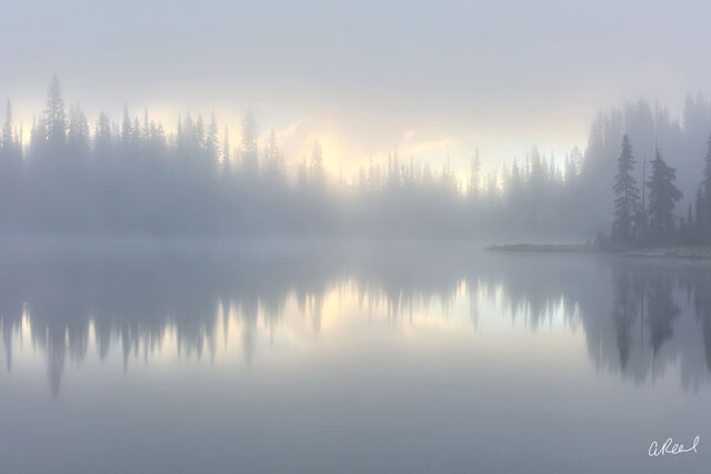 Fog, rainier, National Park, Reflection, Lake