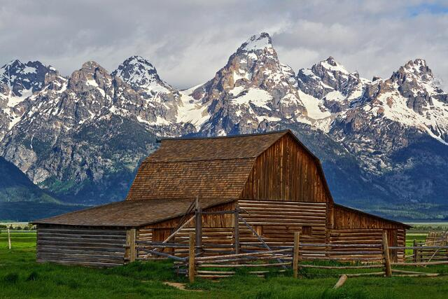 Mormon Row, Grand Tetons, Antelope Flats, Barn, Moulton Barn, Jackson Hole, Wyoming