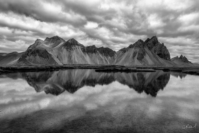 Vestrahorn, Iceland, Monochrome, Black, White, Reflection, Clouds,
