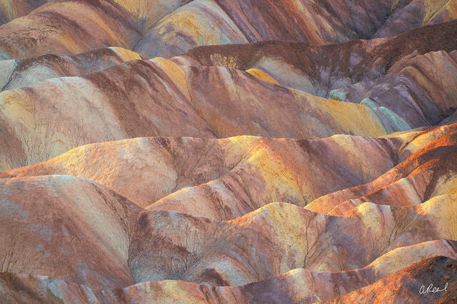 Rainbow colored rocks and sediment form Zabriskie Point In Death Valley National Park.
