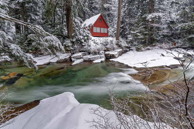A Lone Red Cabin In The Snow Denny Creek.
