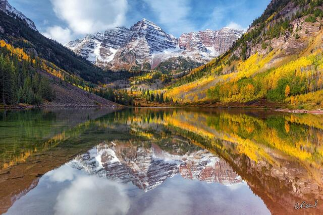 Maroon Bells, Fine Art, Aspen, Colorado, Limited Edition, Crown, Snowmass, Peak, Mountains, Reflection