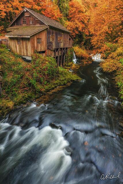 cedar creek, mill, grist, woodland, washington, fine art, limited edition,