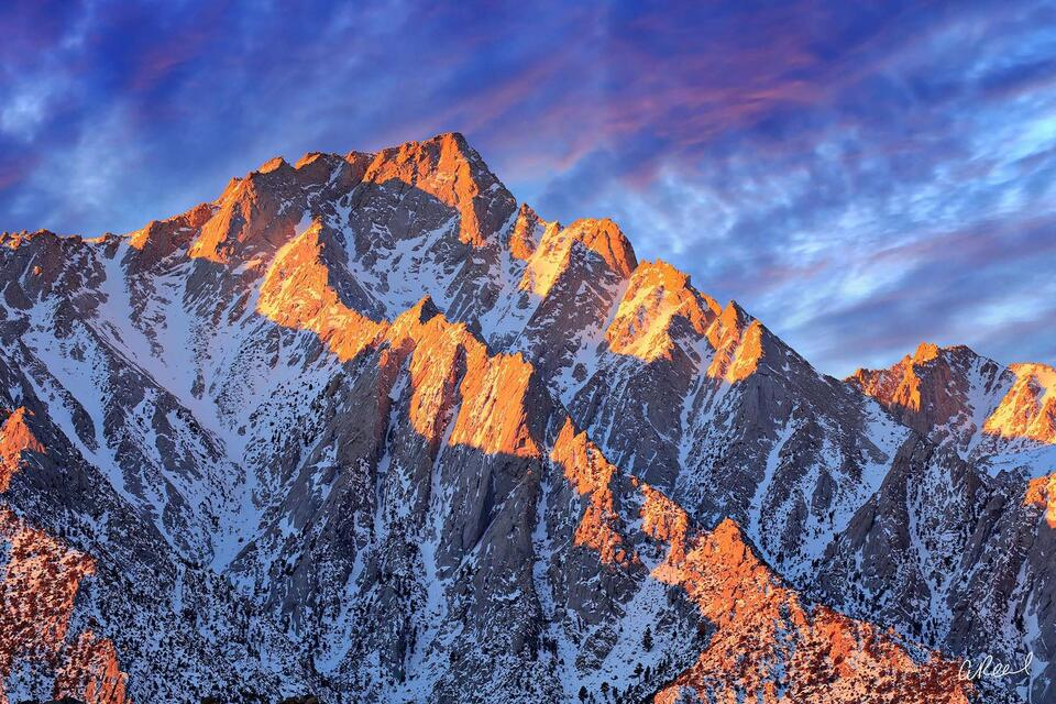 Lone Pine, California, Mountain, Light, Sierras, Cool, Warm, Soothing