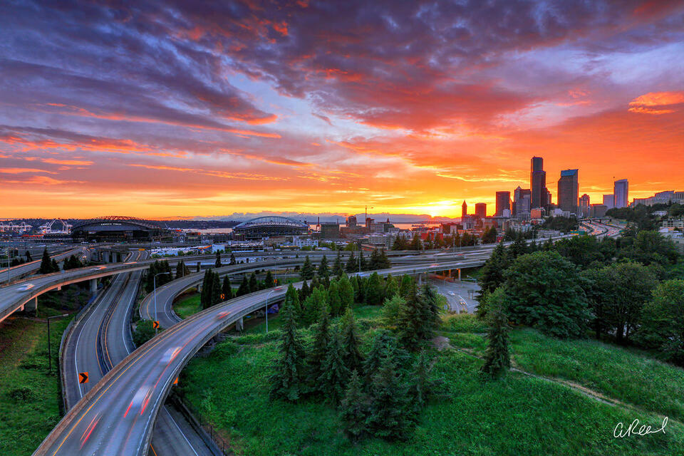 Seattle Washington Fiery sunset