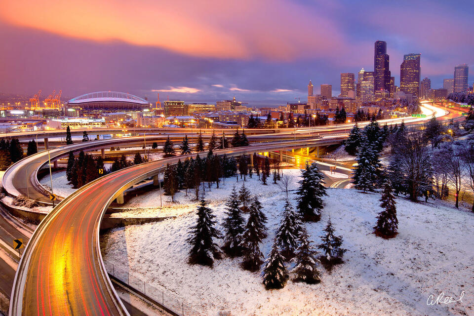 Seattle covered In Snow At Night