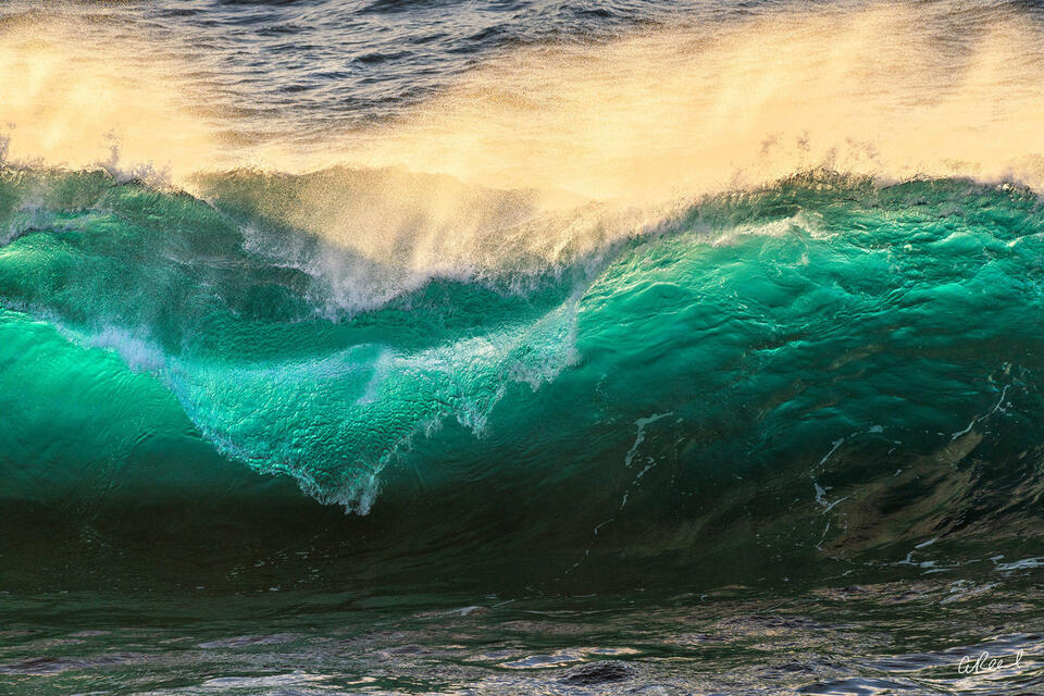 Emerald Ocean Wave In Bog Sur California.