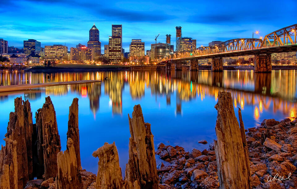 Blue Hour Portland Oregon Skyline
