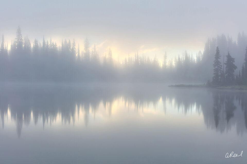 Fog, rainier, National Park, Reflection, Lake