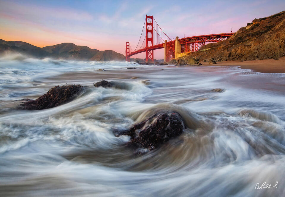 The Golden Gate Bridge and Waves In San Francisco Bay