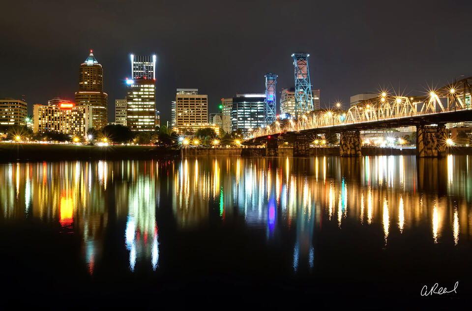 Portland Oregon Skyline At Night