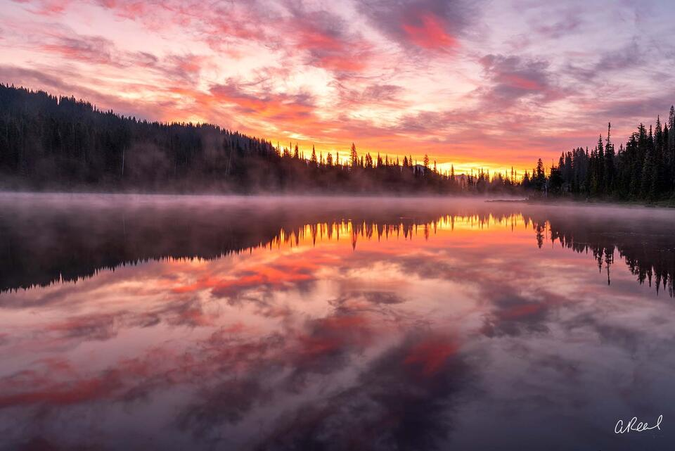 Rainier, Reflection, Sunrise, Washington