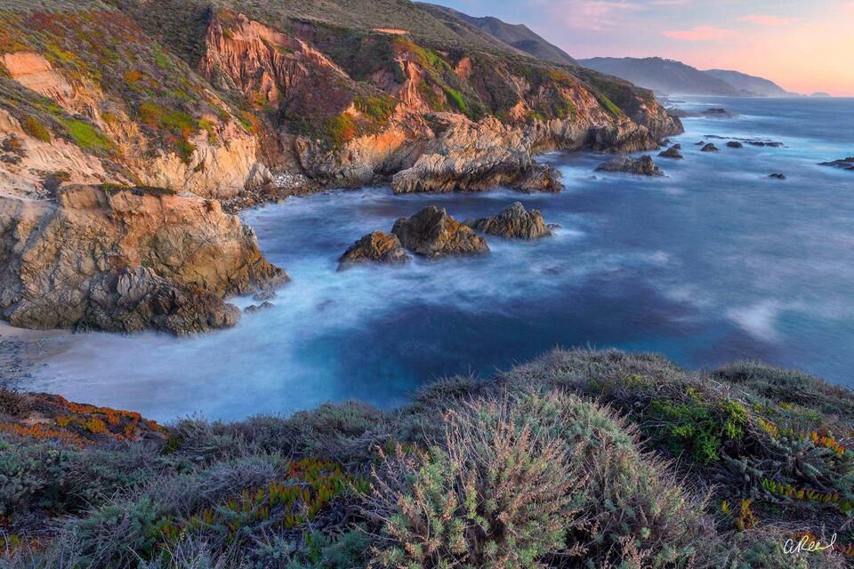 Sunset On The Pacific Coast In Big Sur.