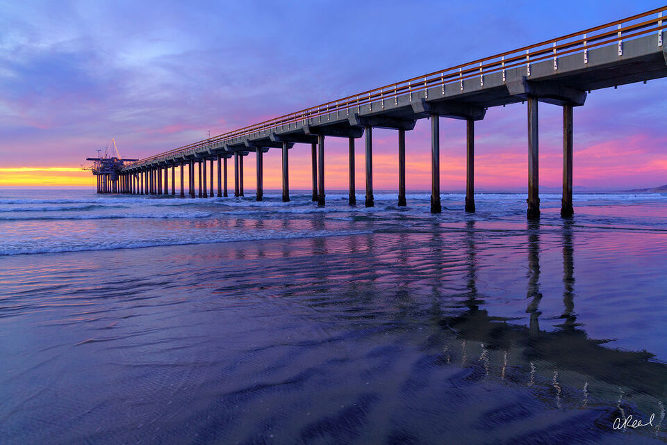 Scripps Pier During Sunset In La Jolla, California.