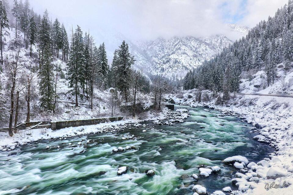 Leavenworth, Washington, Climate, Winter, Snow, Wenatchee, River, Fine Art, Limited Edition,