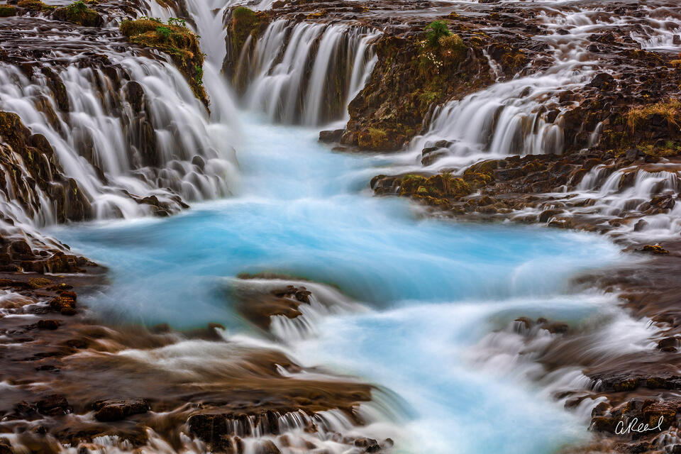 Liquidity In Blue | Multiple Waterfalls Merging Into One | Fine Art Photography for Sale by Aaron Reed