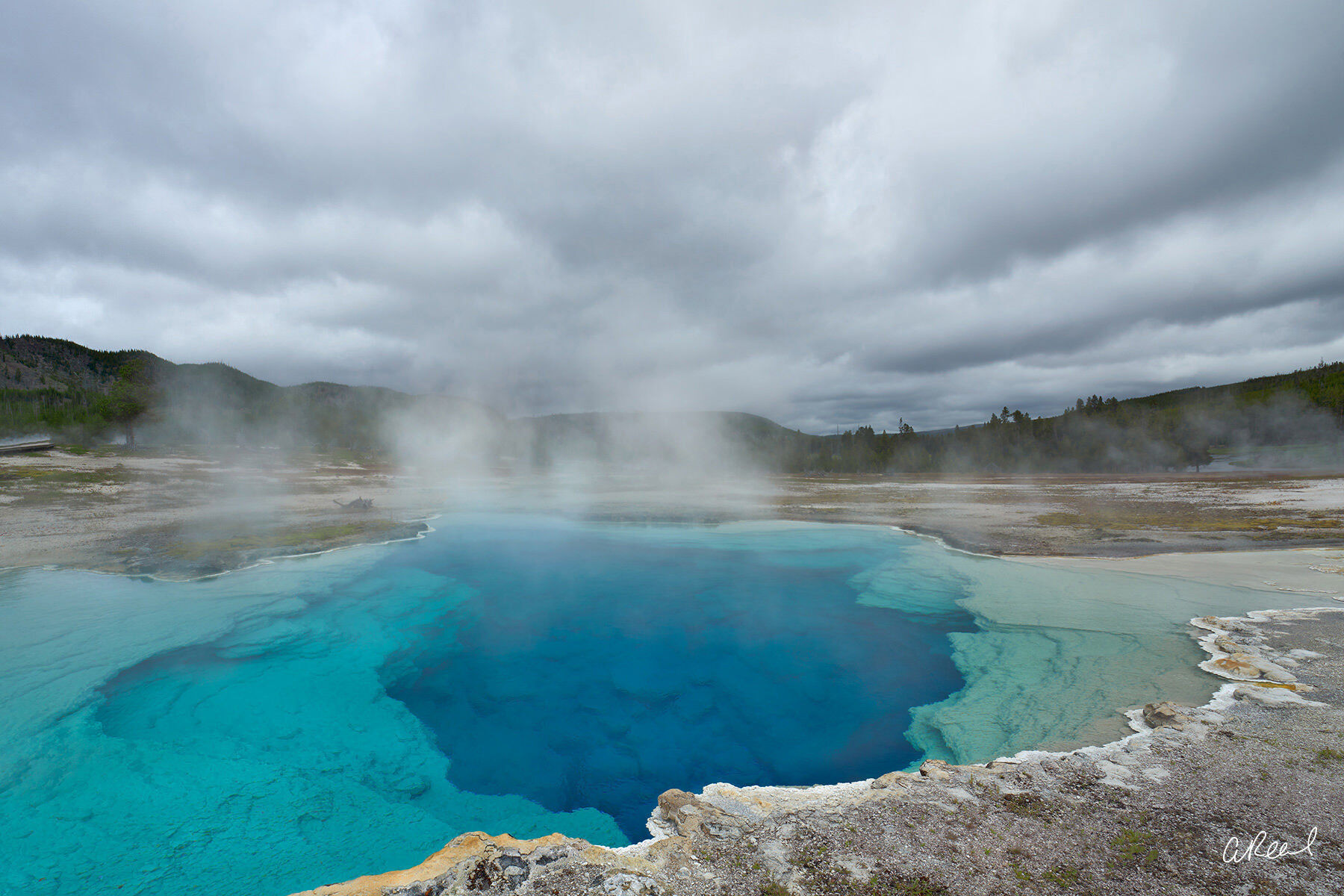 Yellowstone, Geothermal, Clouds, Sapphire, Blue, Wyoming, photo