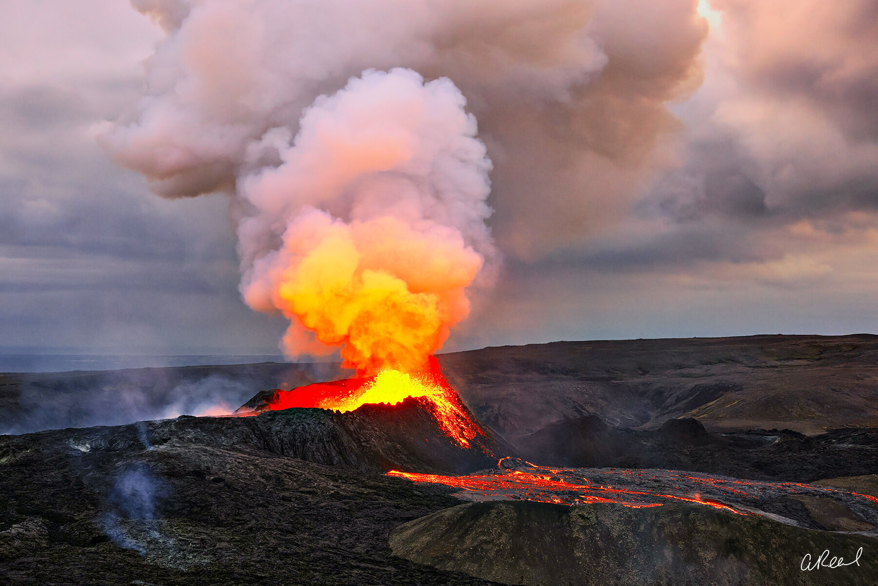 Transform your space with Aaron Reed's limited edition photography print, Born From Fire, from his Iceland Nature Photography...
