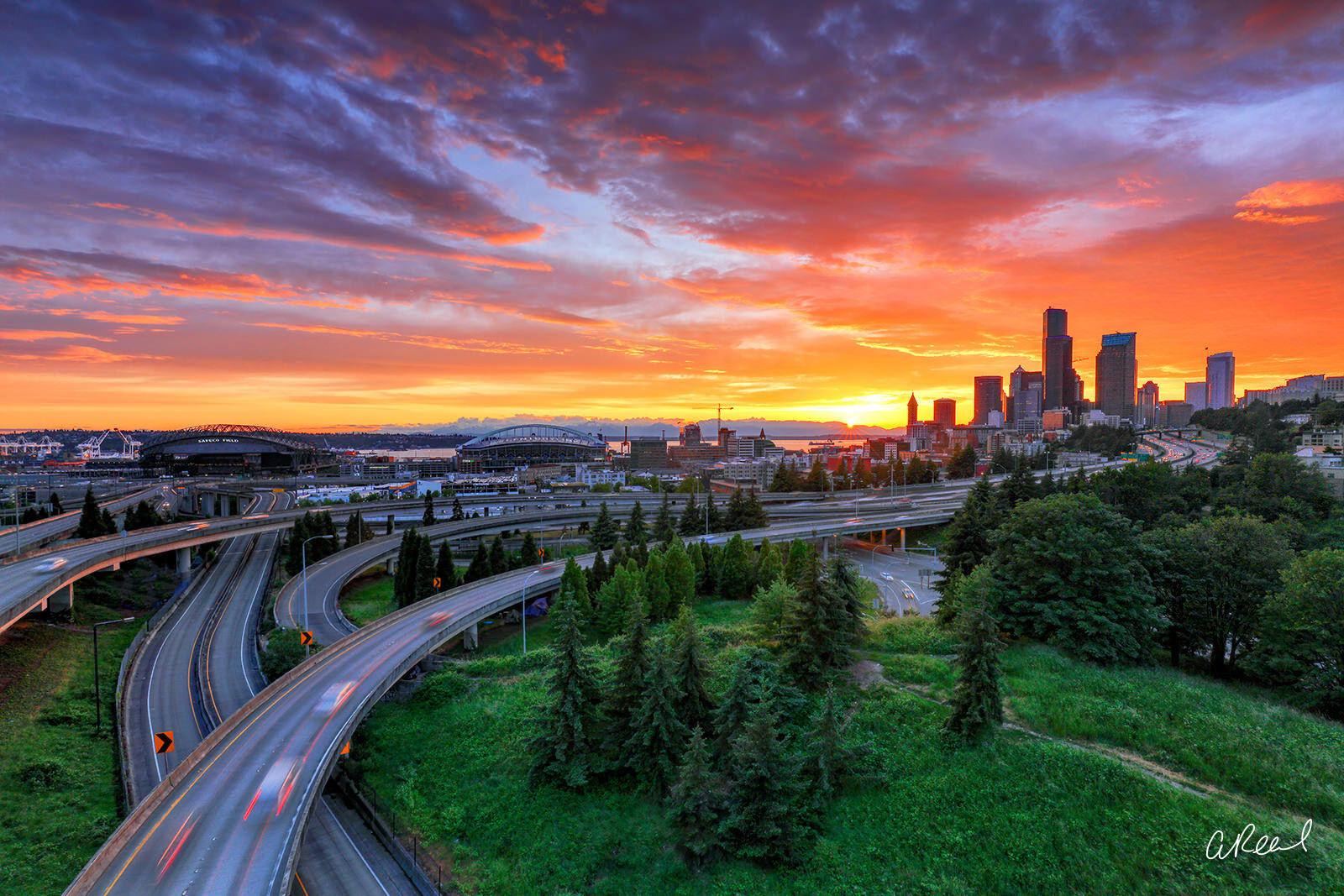 Seattle Washington Fiery sunset, photo