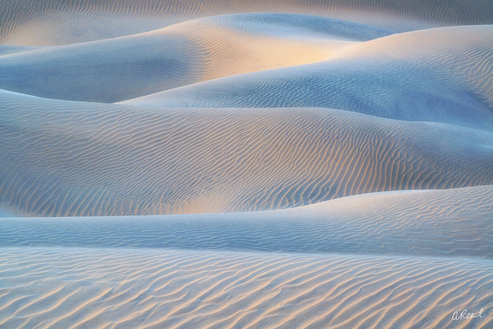 Mesquite Sand Dunes Appearing Like Waves Inside Death Valley National Park. , photo