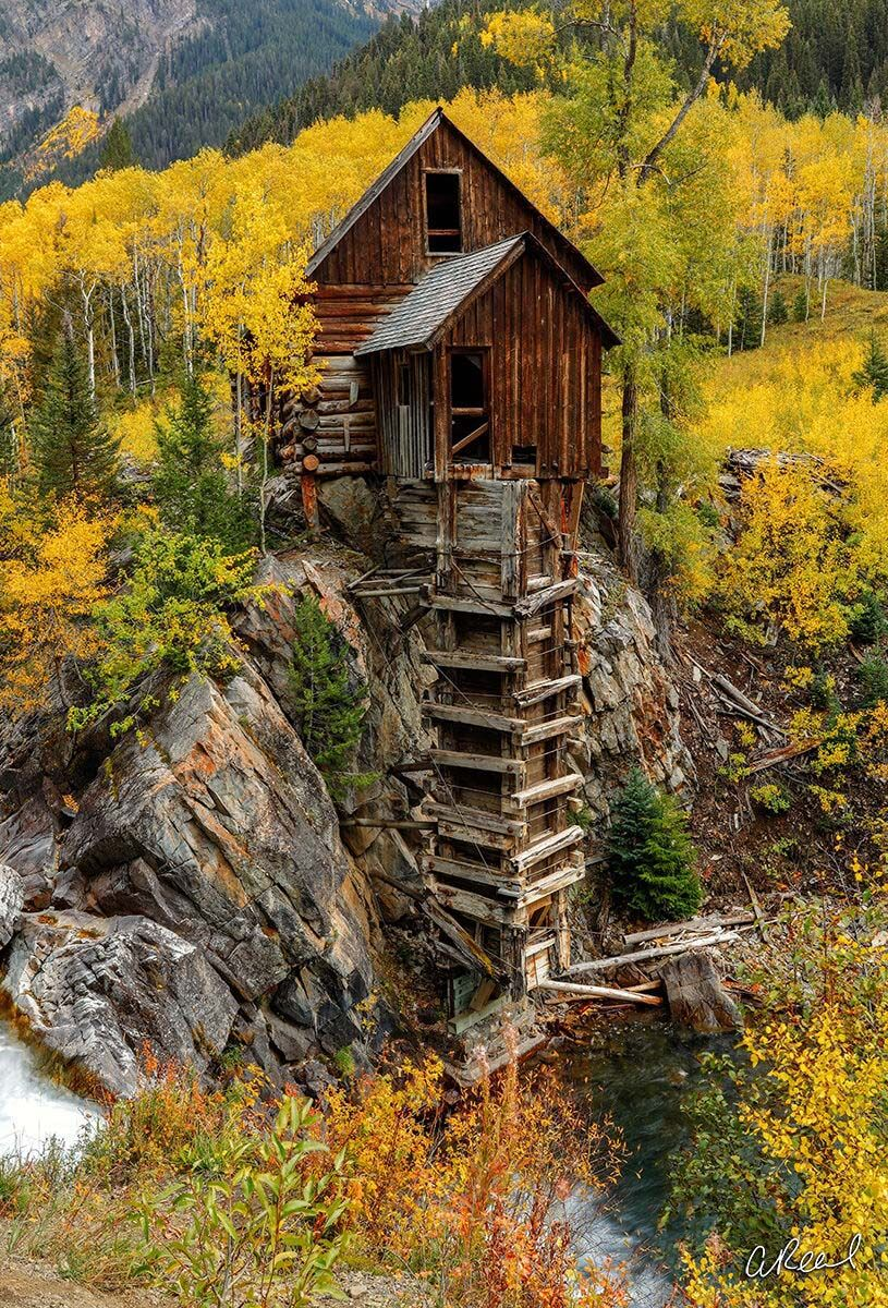 Fine Art, Limited Edition, Mill, Wooden, Colorado, Marble, Autumn, Jenga, photo