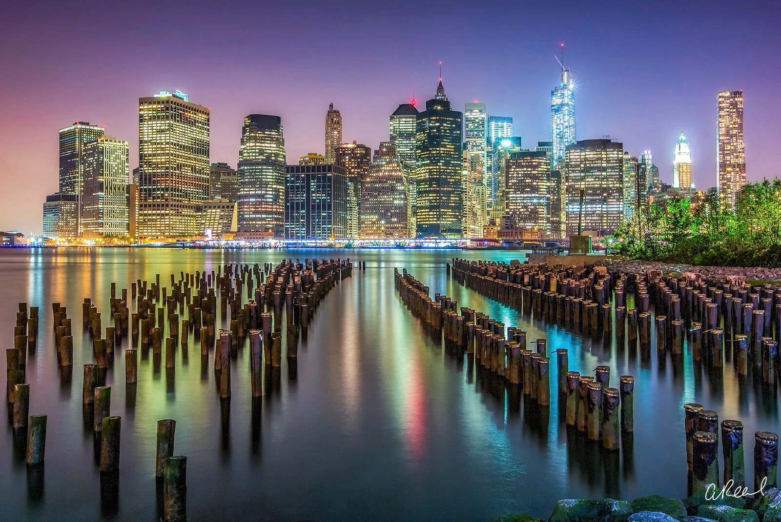 New York Reflected In The Water At Night, photo