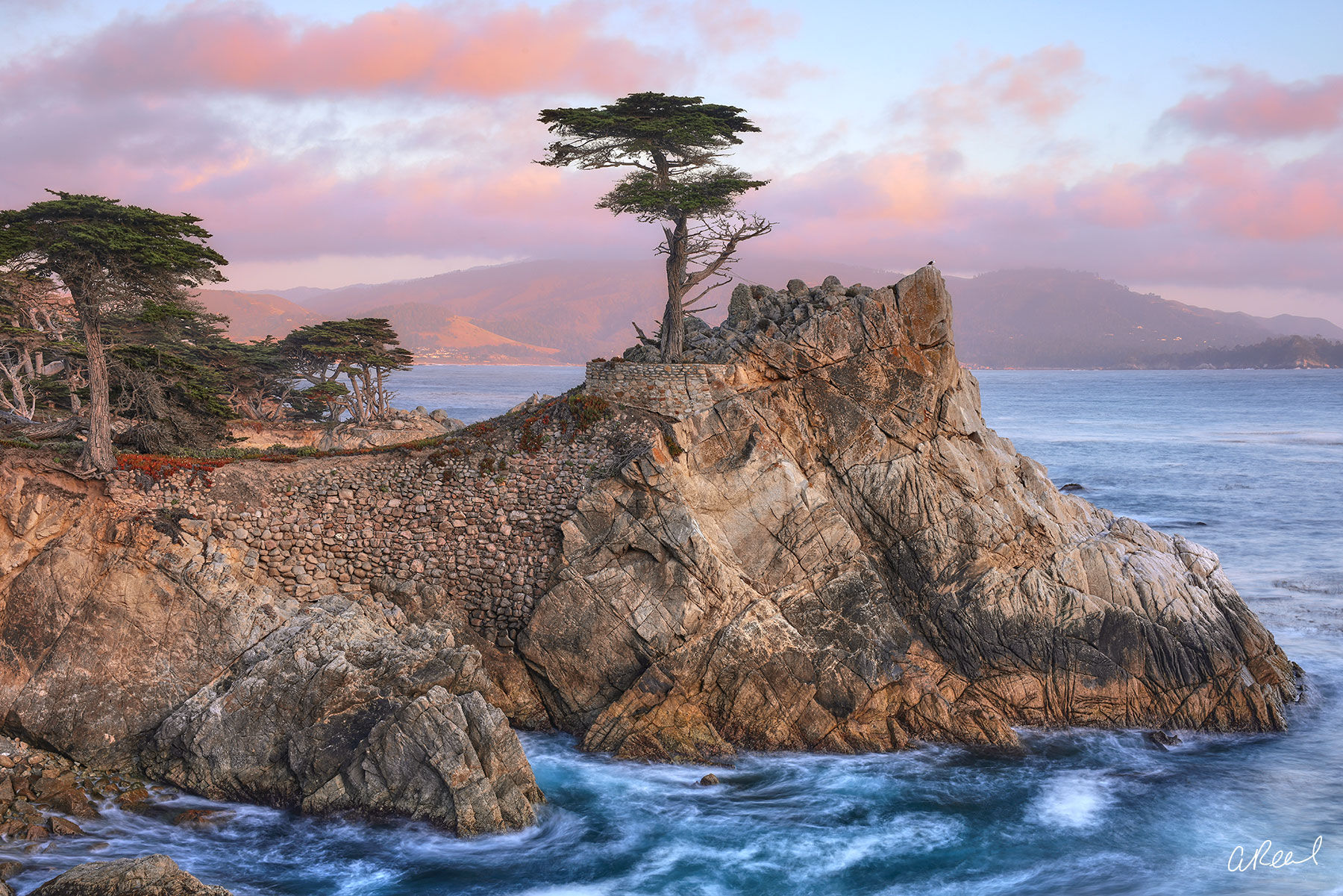 The Lone Cypress tree rests on a rocky edge of Pebble Beach in the State of California. Fine Art Limited Edition of 50.