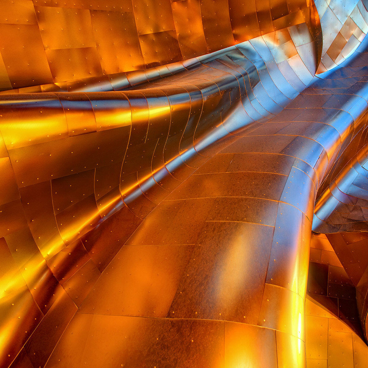A fine art photograph of the exterior wall of the Experience Music Project in Seattle, Washington.