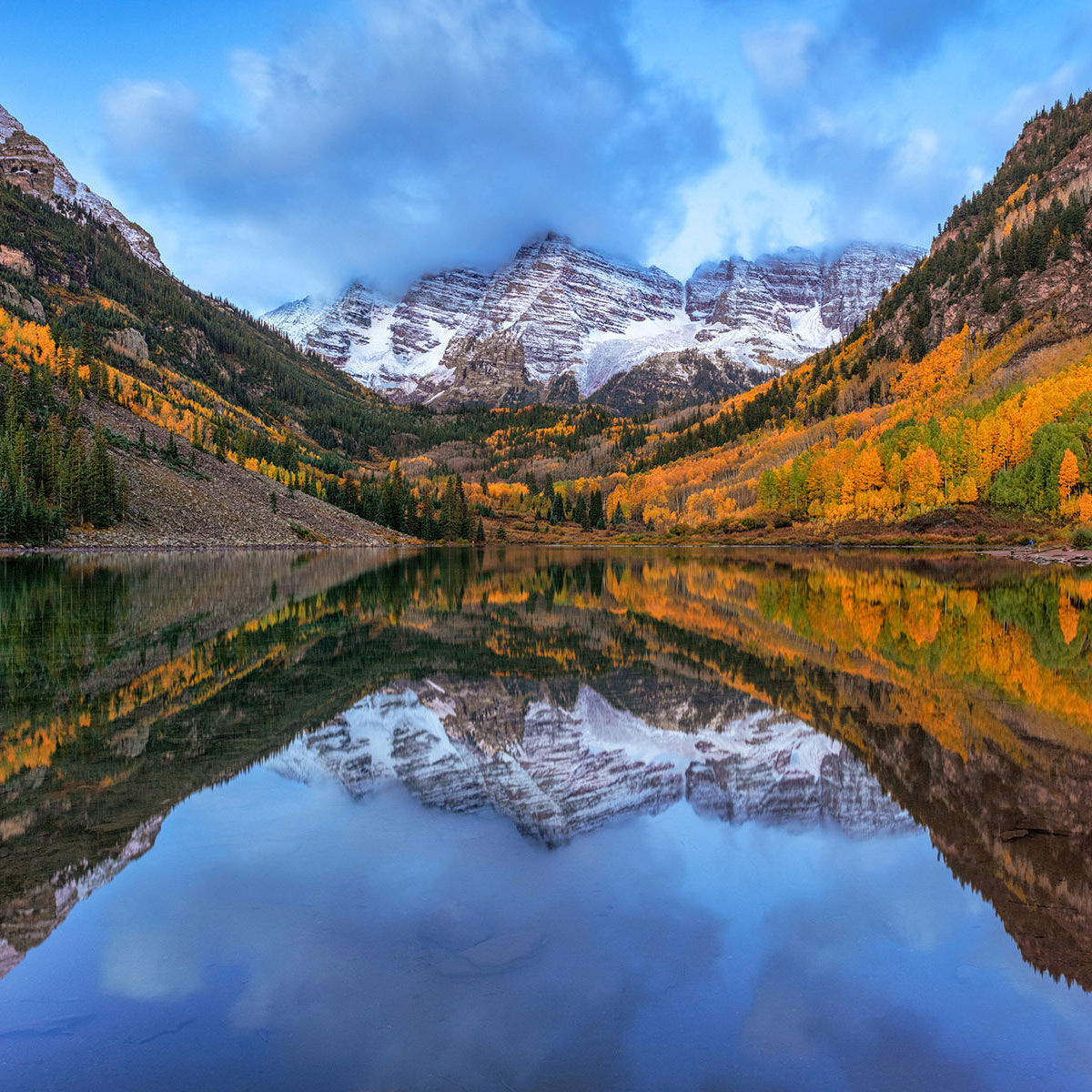 A fine art photograph of Maroon Bells in Aspen Colorado titled Royalty.