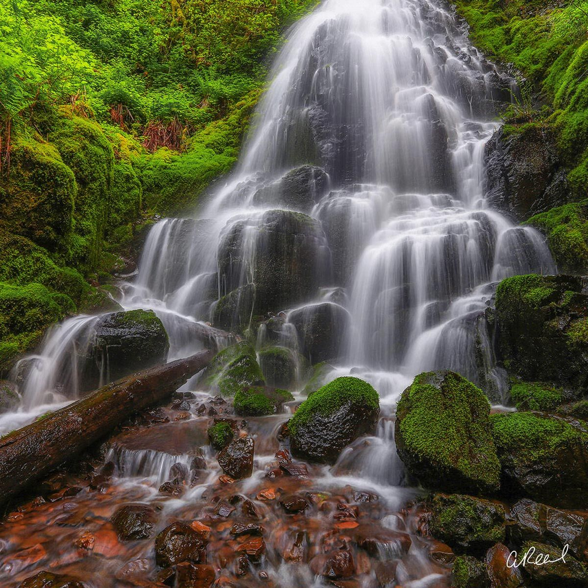 A fine art photograph of Fairy Falls in the Columbia River Gorge of Oregon State.
