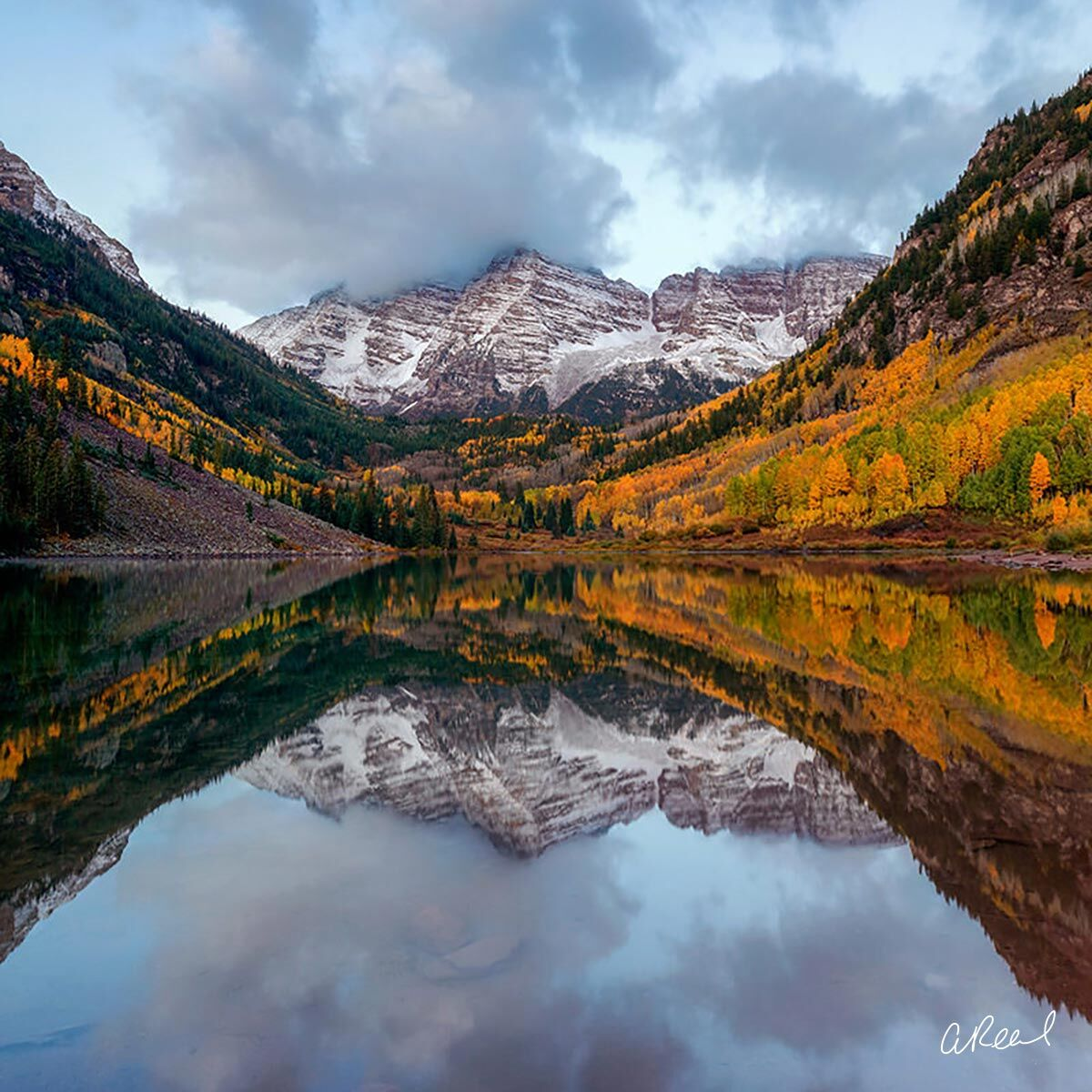 A fine art photograph of Maroon Bells in Aspen, Colorado titled Glorious.