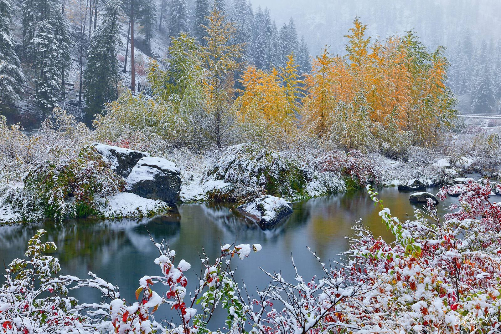 Adorn your walls with Aaron Reed's limited edition photography print, Stillwater Snow, from his Oceans & Rivers Luxury Art collection...