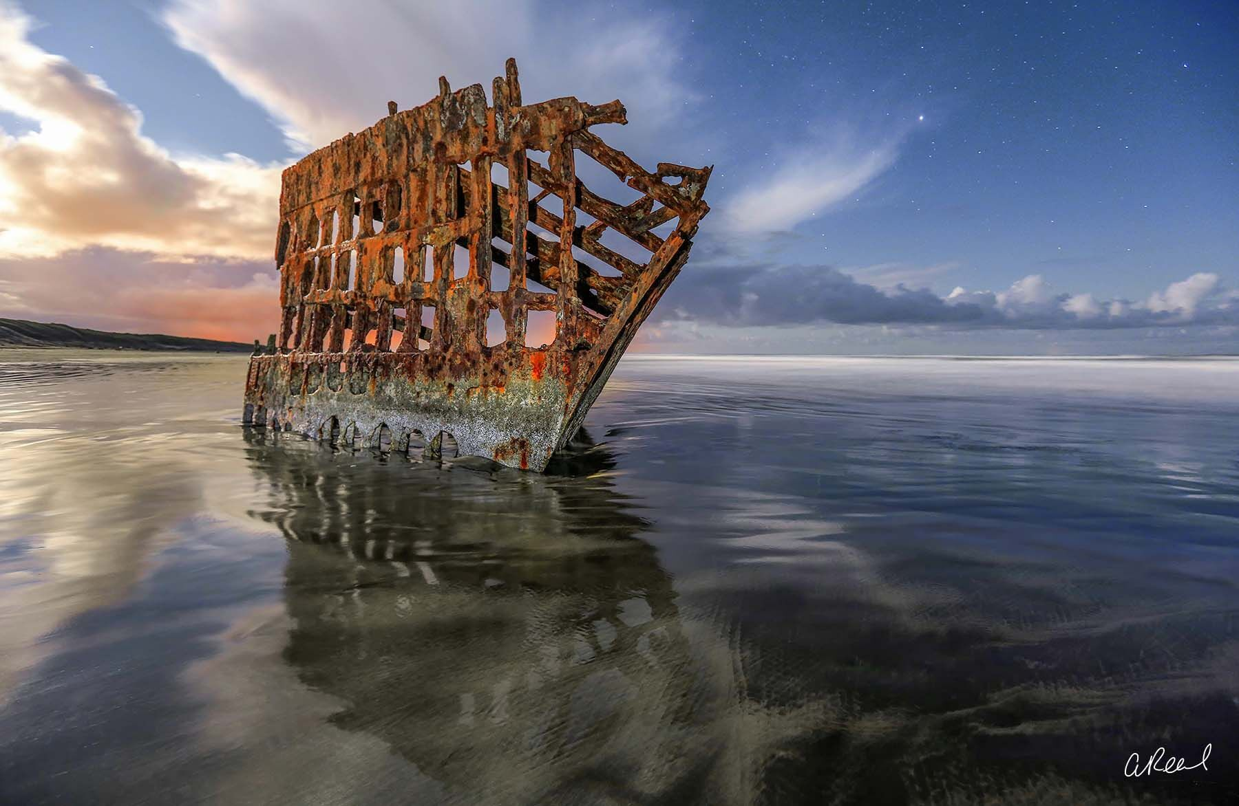 Peter Iredale, Shipwreck, Oregon, Hammond, Coast, Graveyard, Pacific, Fine Art, Night, Stars, Limited Edition, , photo